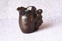 黑梓木黄金袋弥勒佛笔筒红木黑檀木木雕摆件原木 实木质笔筒精品