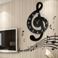 音乐音符客厅挂钟时尚创意钟表个性石英钟现代装饰时钟静音艺术钟
