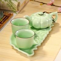 德化郑记青瓷一壶两杯 瓷茶盘 办公用品西施石瓢壶带礼盒特价包邮