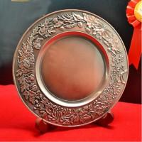 定做订做高档高端合金锡铜金属纪念琉璃水晶奖盘