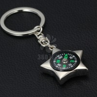 【厂家直销】简约创意个性五角星指南针房地产促销实用钥匙扣批发