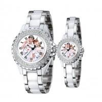 新款镶钻 防陶瓷带钻情侣腕表 相片手表定制 定做 背面刻字