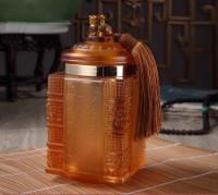 商务礼品实用琉璃茶叶罐高档工艺品摆件可送领导生日礼物纪念礼品
