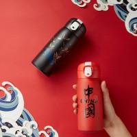 工厂直销 保温杯 新款中国风创意弹跳盖杯子礼品定制国潮风保温杯